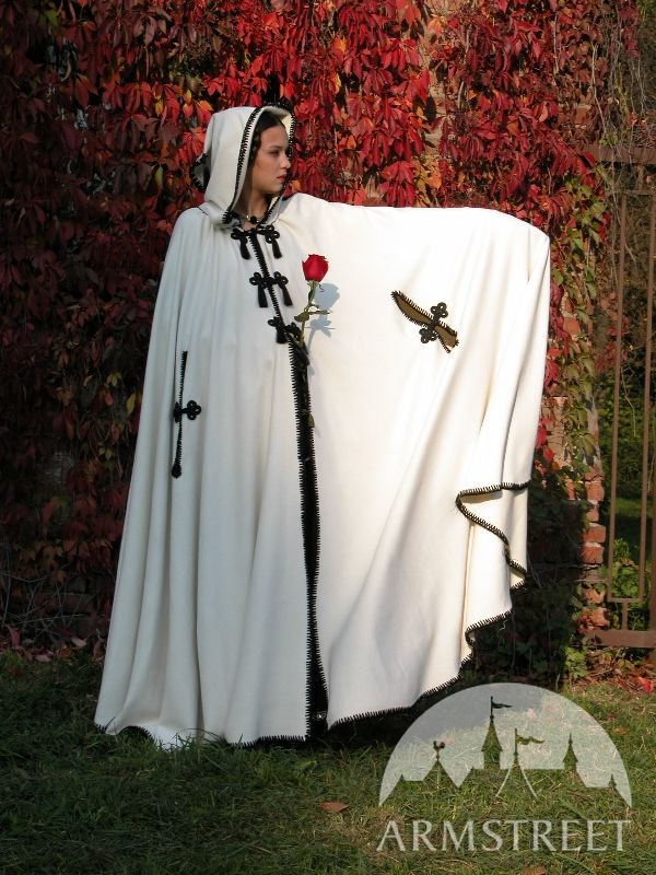 White Woolen Cloak With Handmade Borders Finishing For