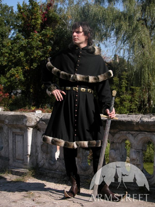 Medieval Wool Coat Tunic Garb  Tappert And Hood for sale