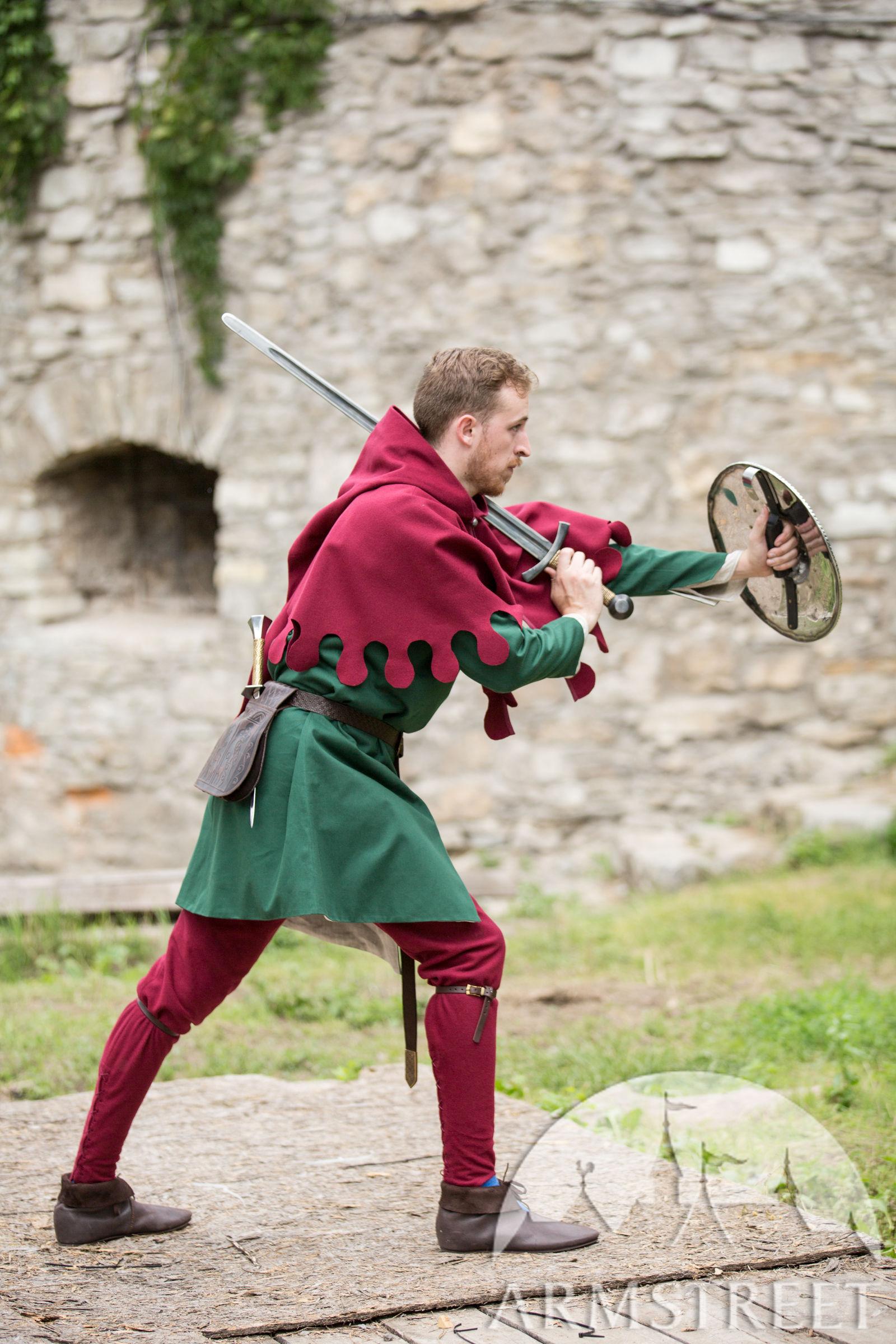 Medieval Woolen Hood Armor Bearer for Sale Available in black wool ivory wool grey wool red