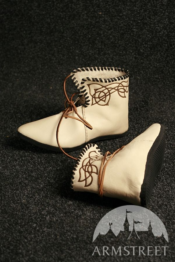 Natural Celtic Medieval Boots Shoes burned pattern with