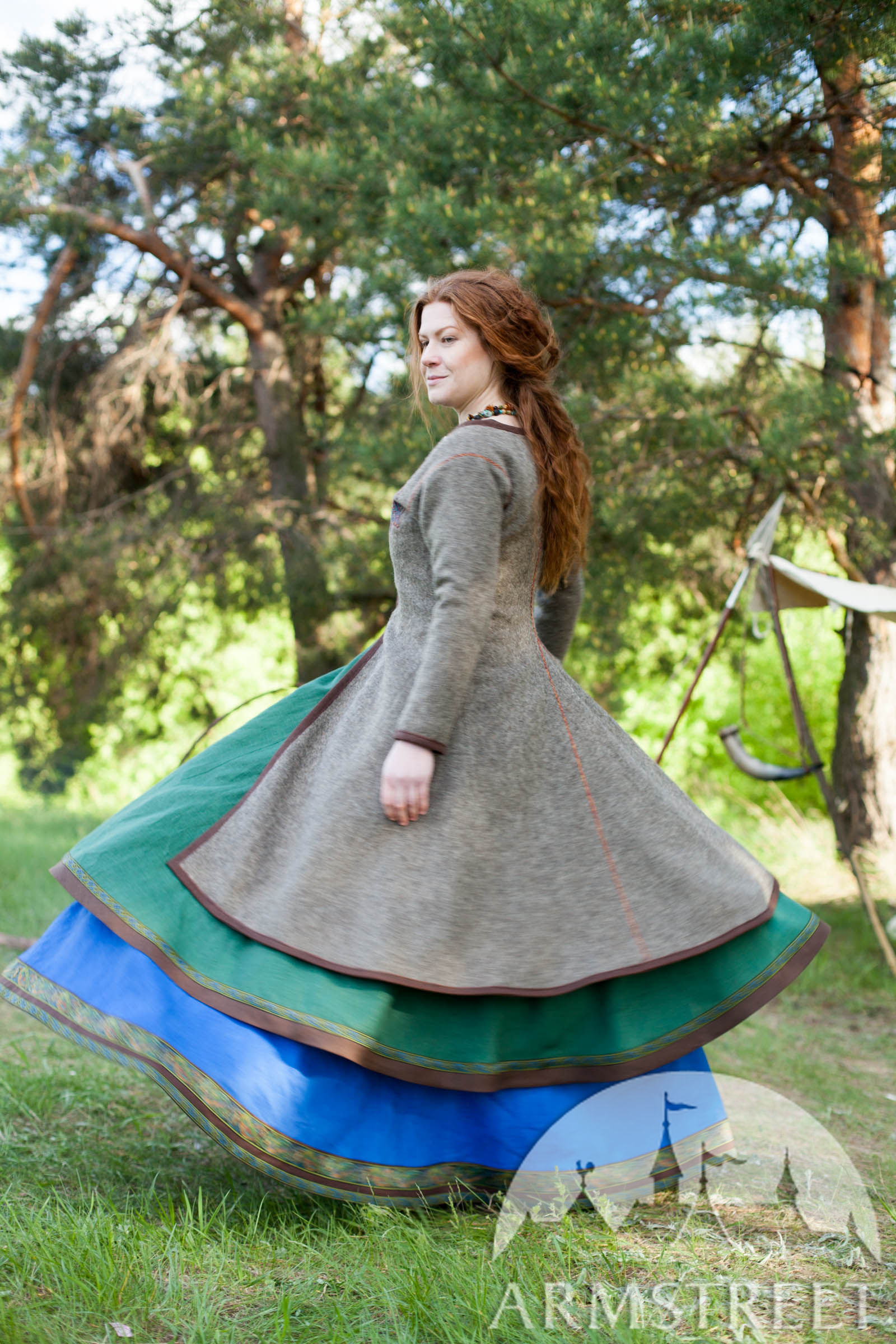 Viking Coat with Embroidery Available in natural wool broadcloth green flax linen brown flax