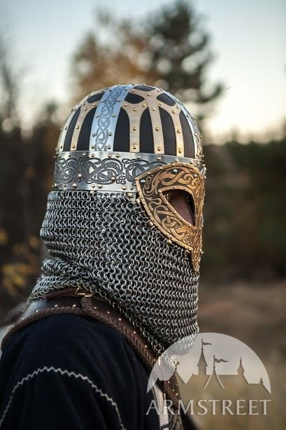 Viking Combat Helmet Valsgarde Available in brown leather black leather stainless  by