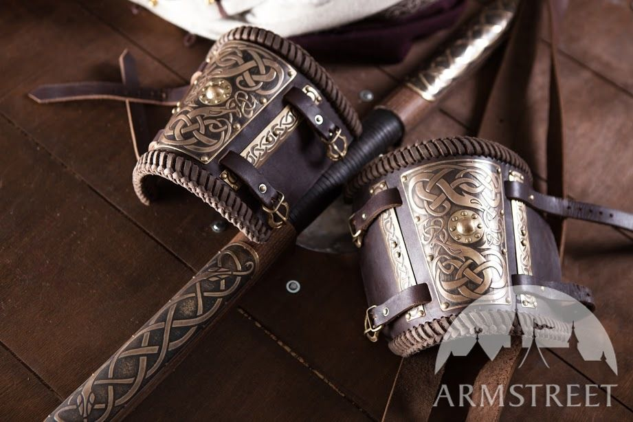Viking Bracers with Etched Brass Accents Available in brown leather black leather brass
