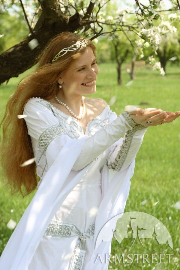 Exclusive white medieval wedding dress with handmade Celtic style embroidery for sale Available