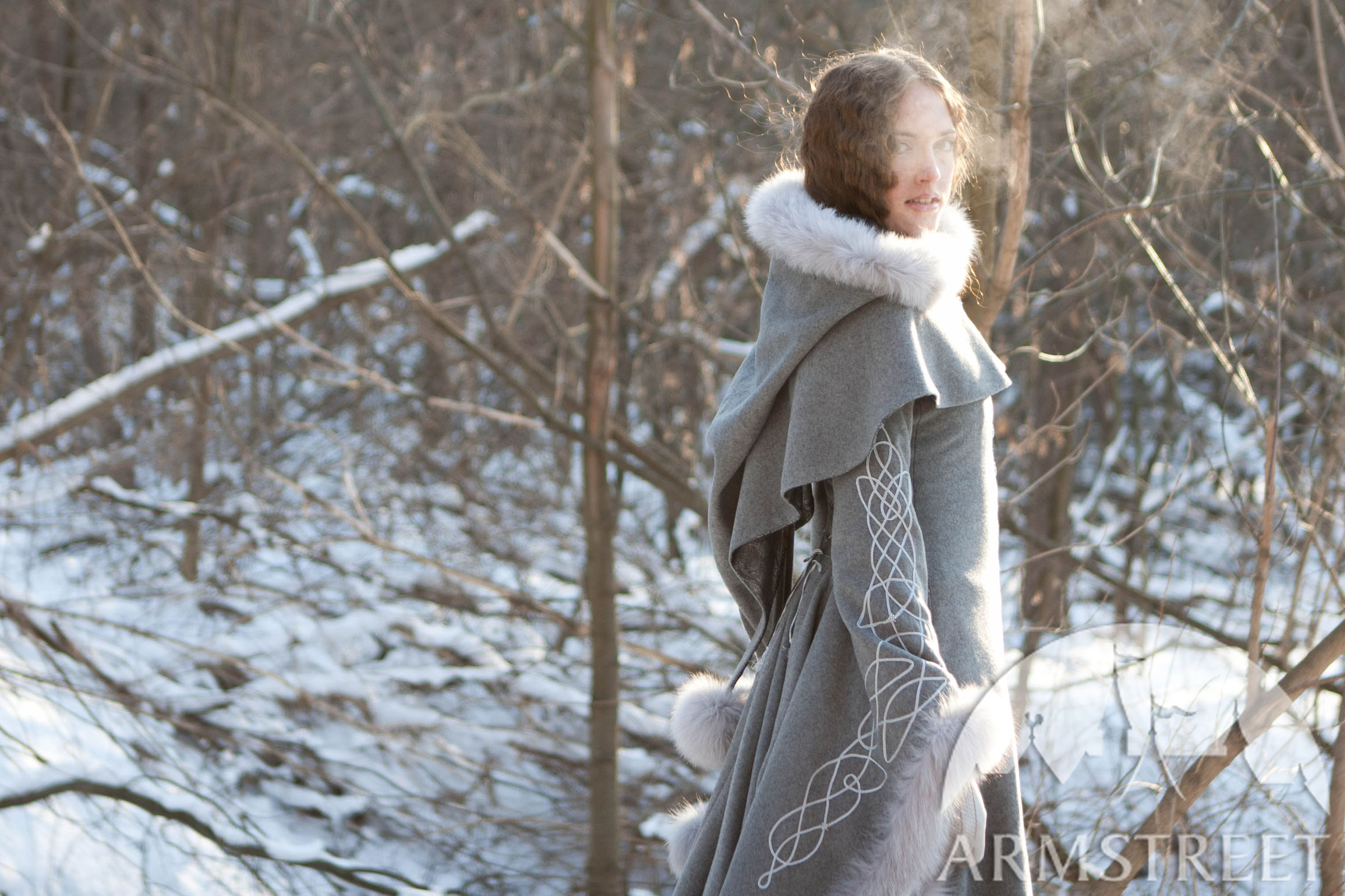 Exclusive fantasy fashion design coat Heretrix of the Winter for sale Available in ivory wool