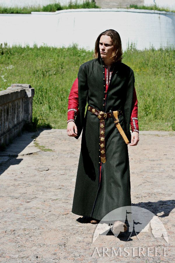 Classic long medieval woolen coat with hood typical for XIV century Western Europe for sale