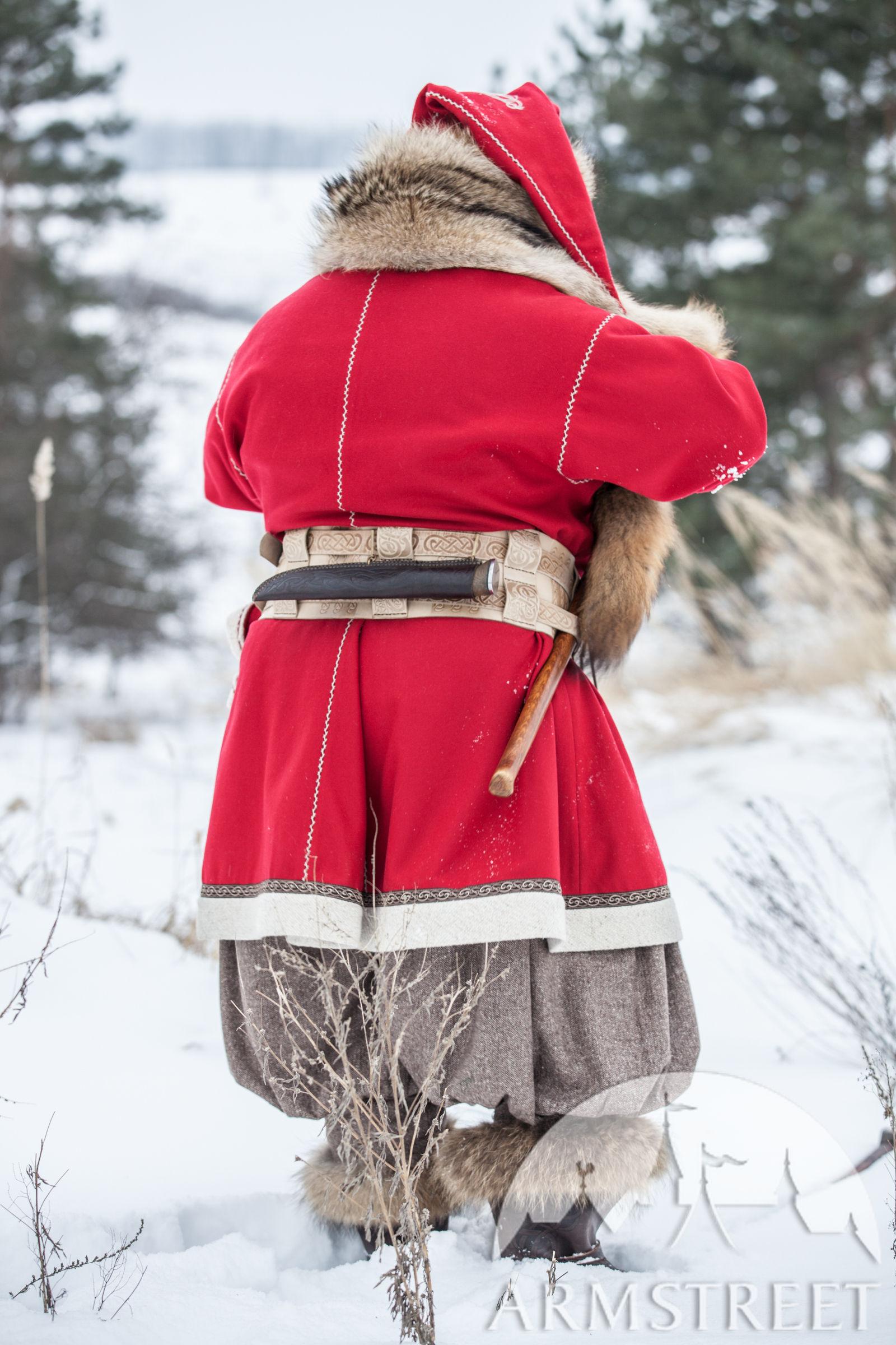 Woolen Viking Coat  Yule edition Available in red wool black wool bottle green wool red