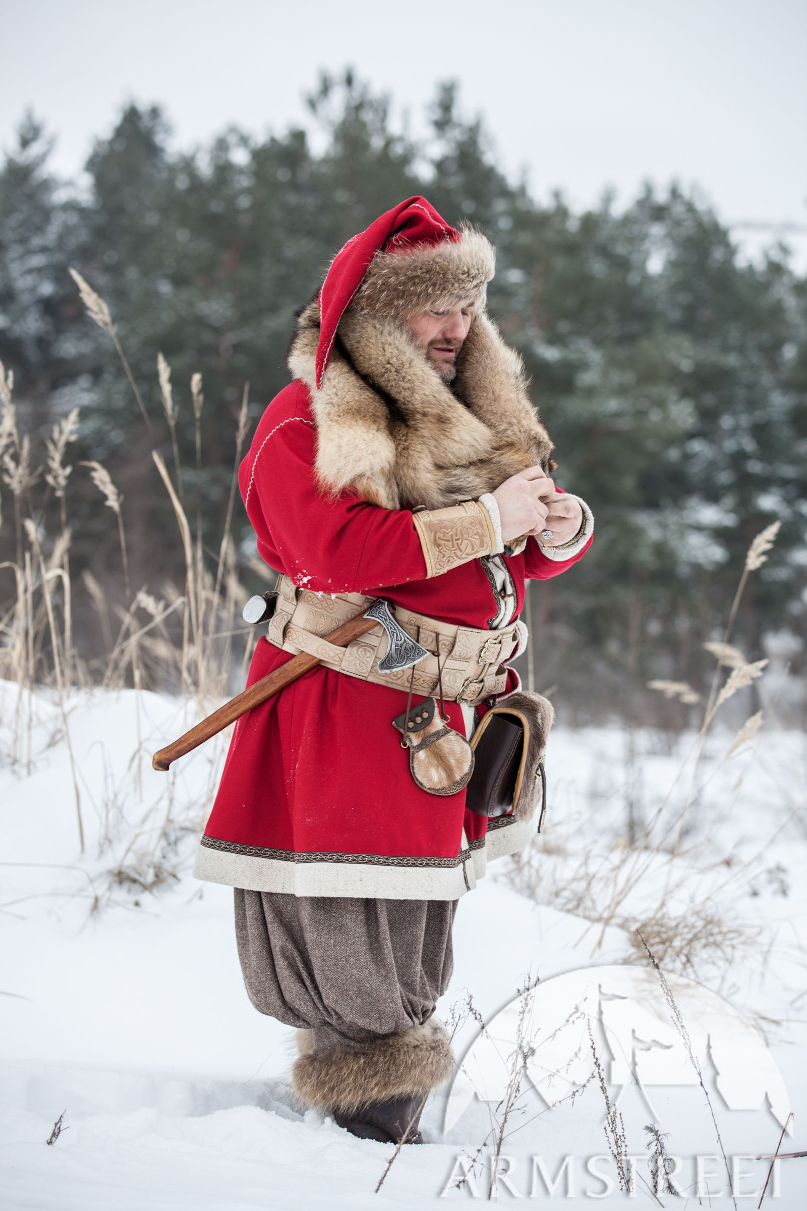 Woolen Viking Coat  Yule edition Available in red wool black wool bottle green wool red
