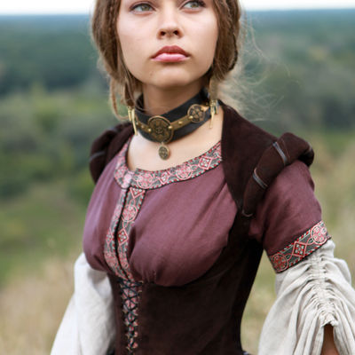 Archeress flax linen medieval garb dress chemise and