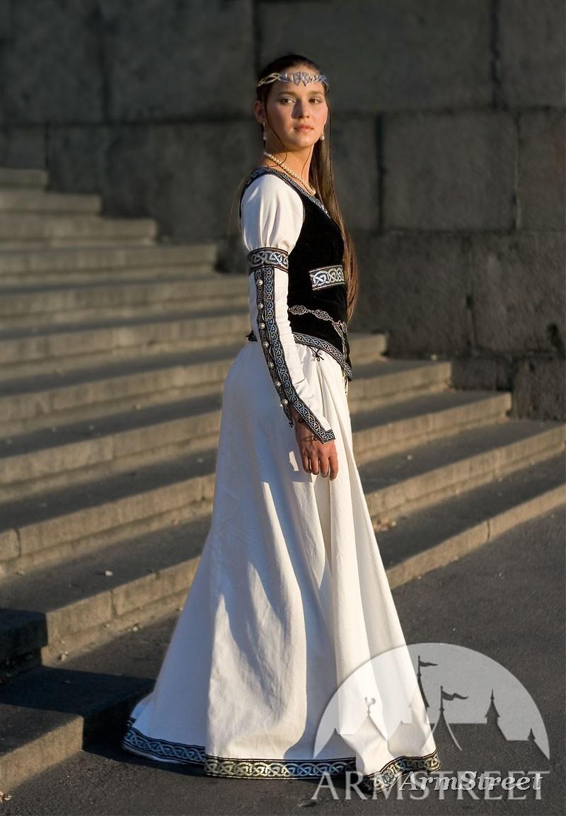 Mittelalter Kleidung fr Frau Dame kaufen Vorhanden in dunkelblaue baumwolle grne