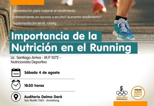 """Charla """"Importancia de la nutrición en el running""""."""