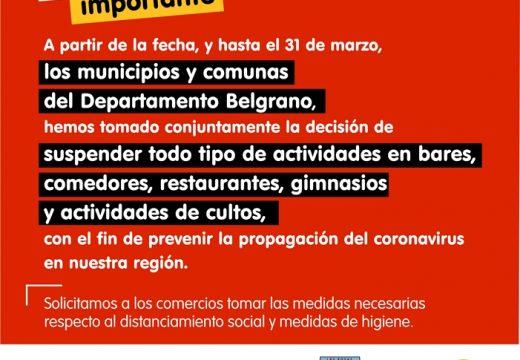 Medidas en todo el Departamento Belgrano por Coronavirus.