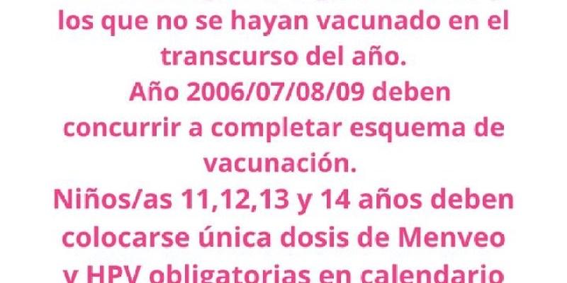 Armstrong. Vacunación. Acercate al SAMCo. Prevenir es Cuidar.