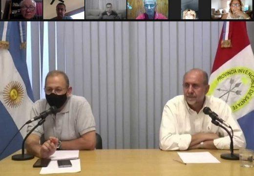 Covid-19: El gobernador Perotti junto a los ministros Martorano y Corach se reúnen con intendentes y presidentes comunales.