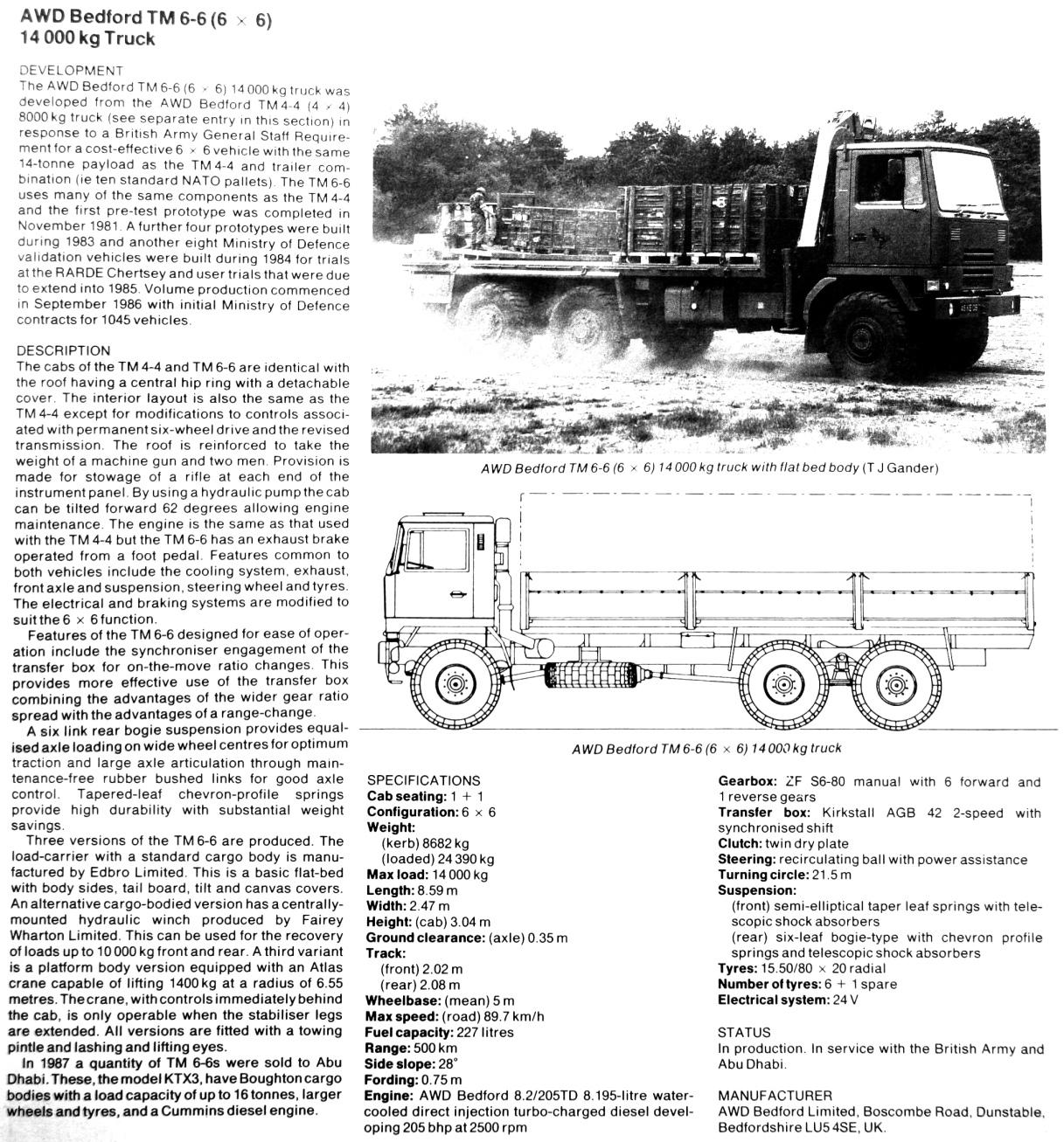 Bedford Tm 6x6 Drop Side Cargo Truck Lhd For Sale In