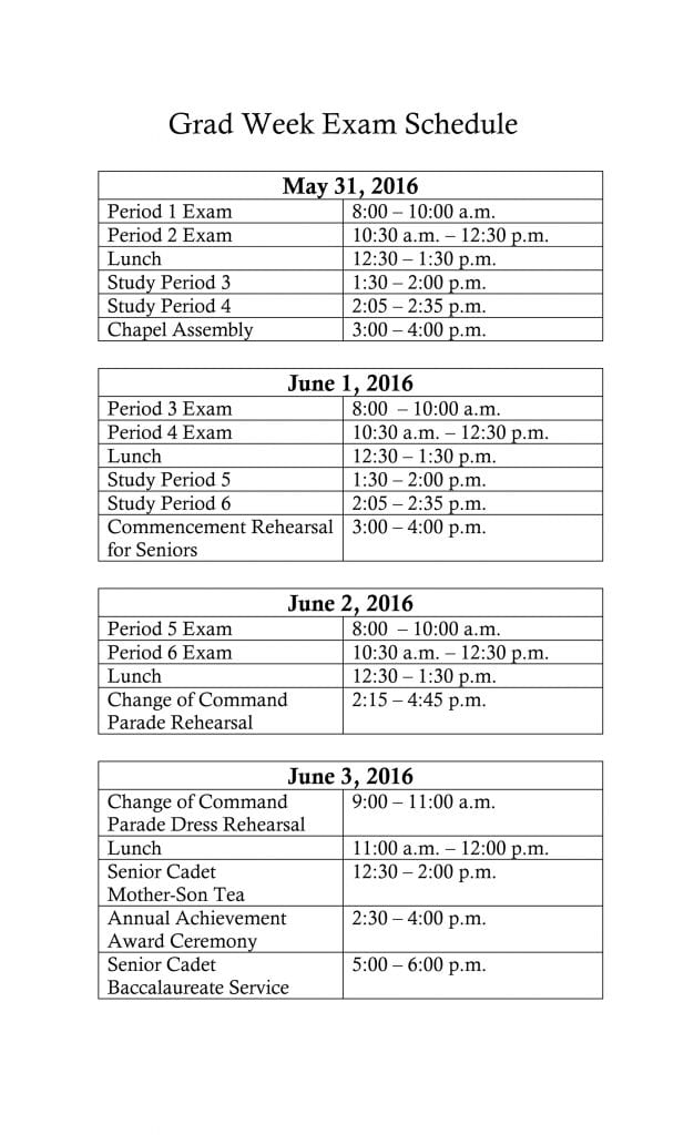 Microsoft Word - FINALS Schedule June 2016