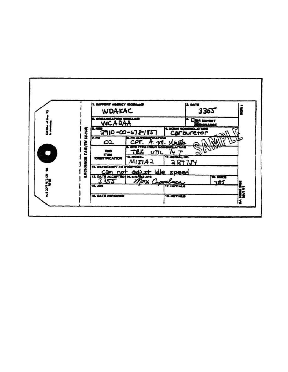 Figure 44. DA Form 2402 (Exchange Tag) Used for Repair Request