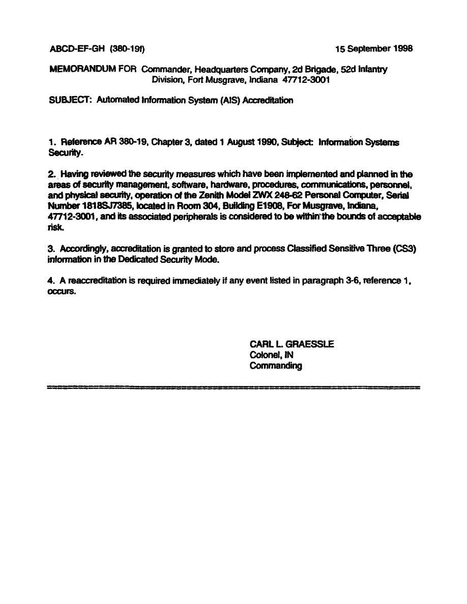 Figure 31 AR 38019 Sample format of an accreditation