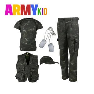 Kids Camouflage Explorer Army Kit BTP Black Camo