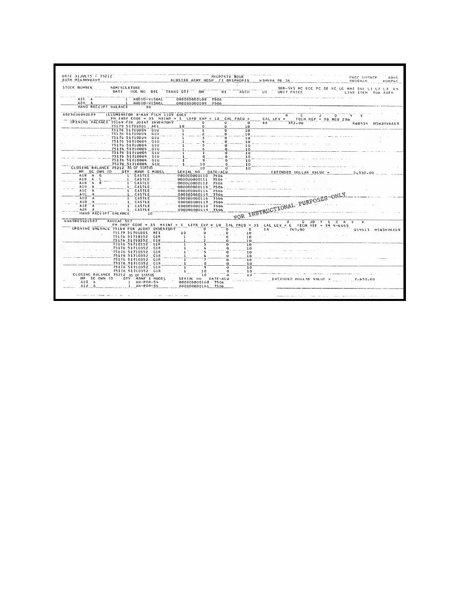 Figure 3-4. Example of an AMEDDPAS property book page