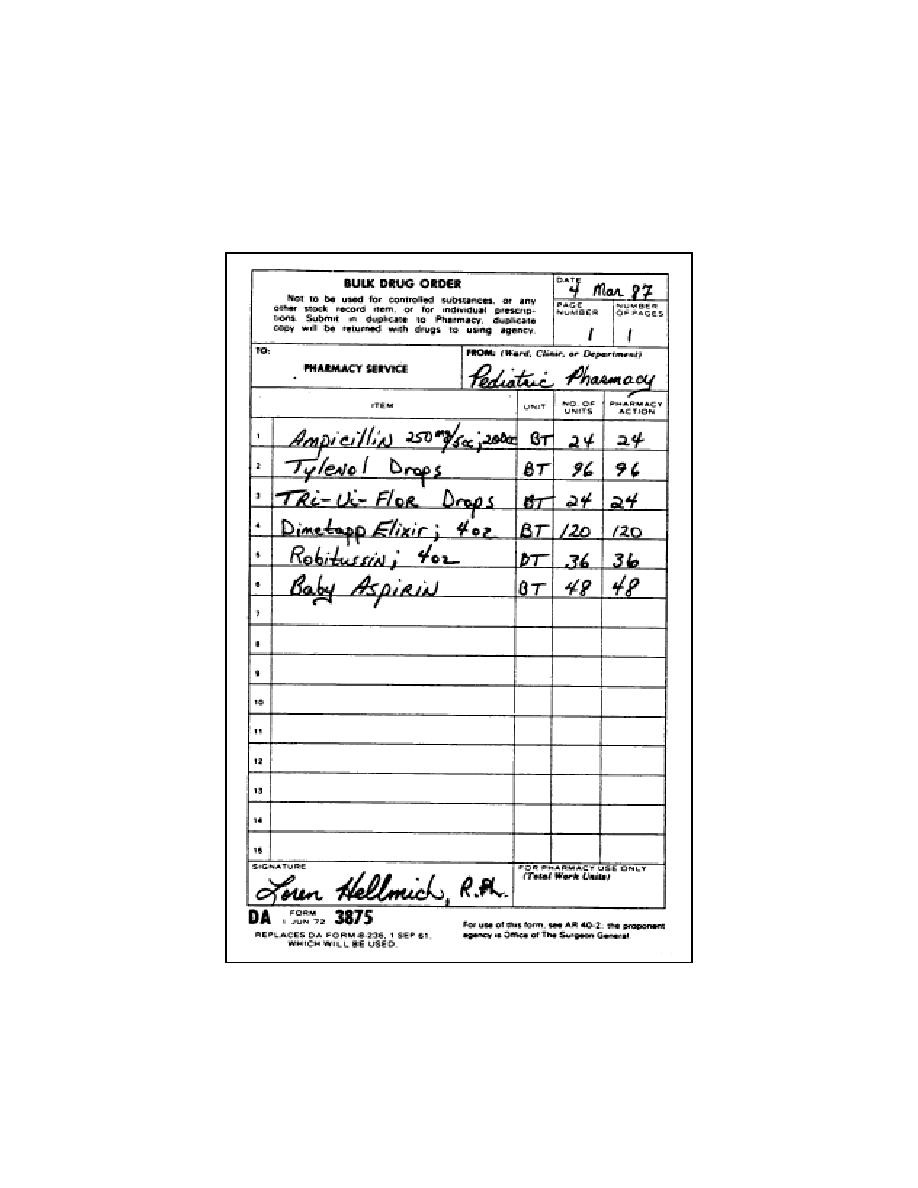 Figure 3-8. DA Form 3815, Bulk Drug Order Form (movement
