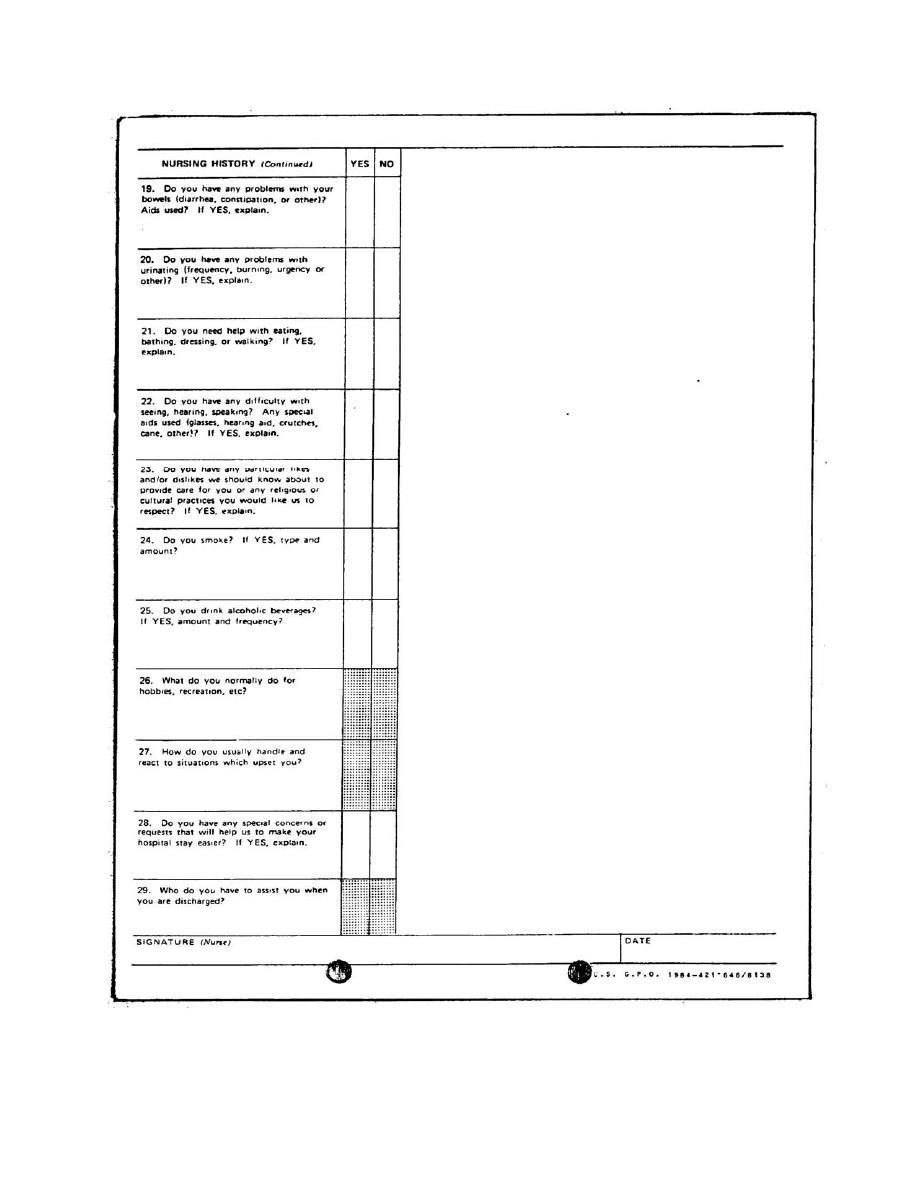 Figure 1-9. DA Form 3888, Nursing Assessment and Care Plan