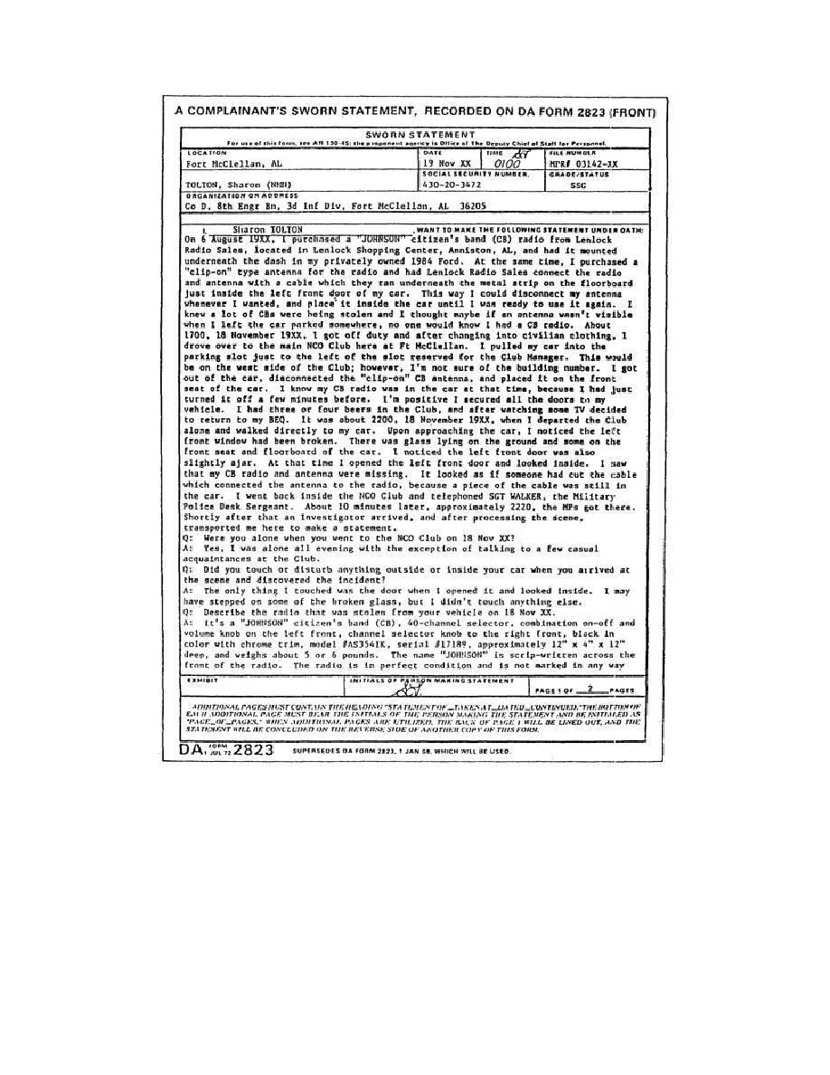 Da Form 2823 (Sworn Statement).