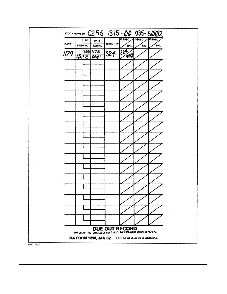 Figure 1-3. DA Form 1298 (Due Out Record) posted to
