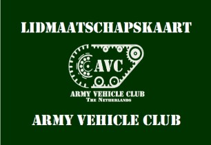 Lidmaatschapskaart van de Army Vehicle Club