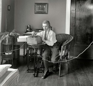 Boy with telegraph