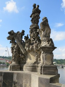 One of dozens of statues on the Charles Bridge