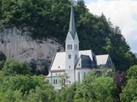 Lakeside Church along the 3.5 mile walk around Lake Bled