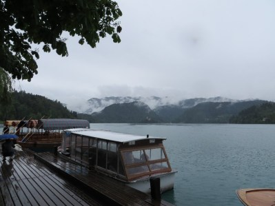 Our boat and the view back in Bled