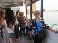 Waiting for our Vaporetto (waterbus) ride to the Rialto Bridge