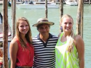 Micaela, our gondola boatman, and Julia after the ride