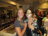 Abbie and mom with a Venitian Carnival Mask