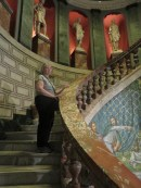 Kathy on a marble stairway