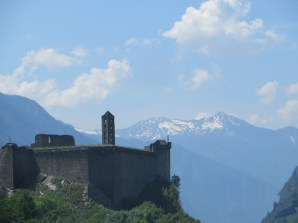 Swiss castle and mountain view
