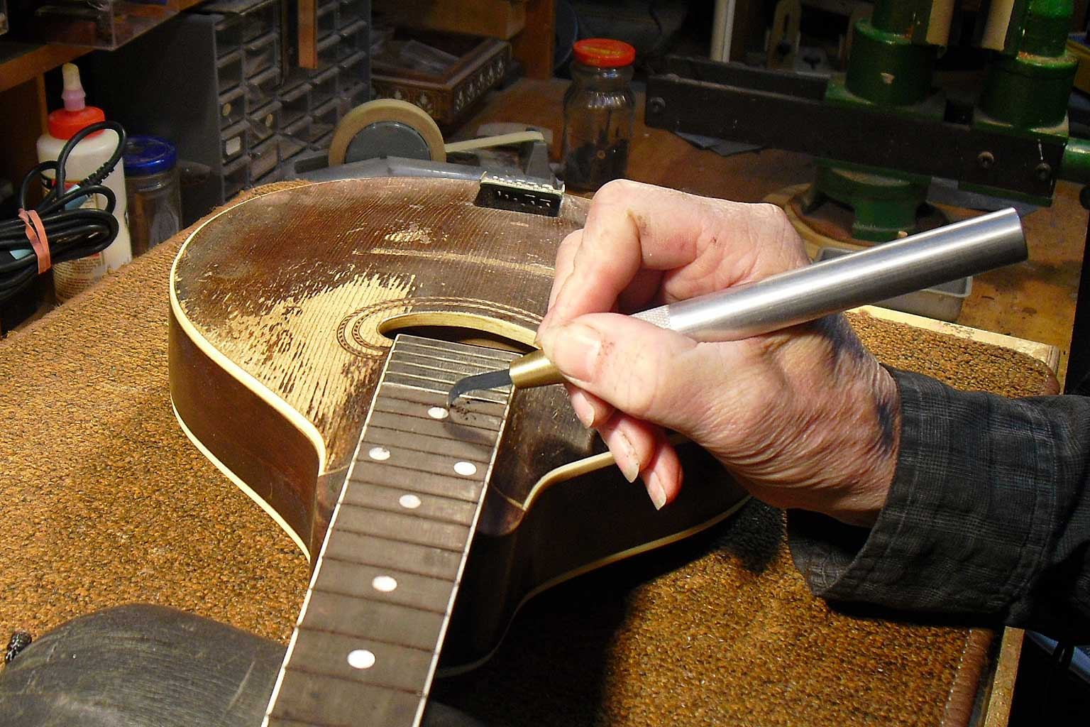 refret and old mandolin, guitar repair, action adjustment, martin service center, kline music, restoration, mandolin repairs
