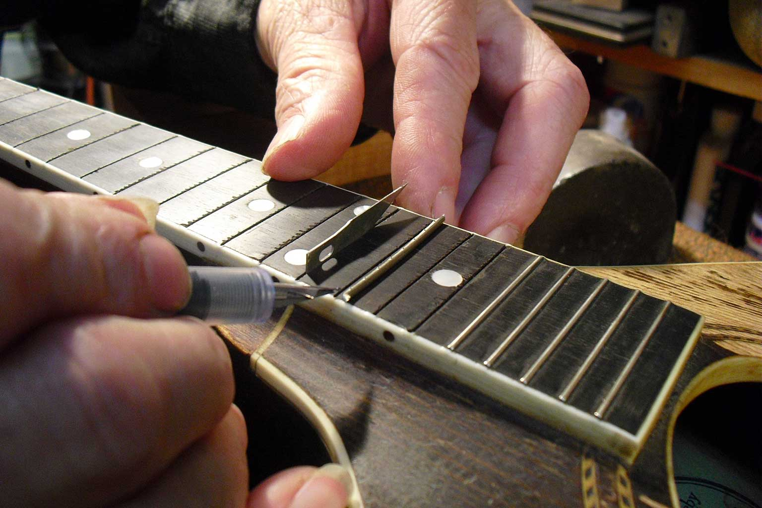 mandolin refret, guitar repair, action adjustment, martin service center, kline music, restoration, mandolin repairs