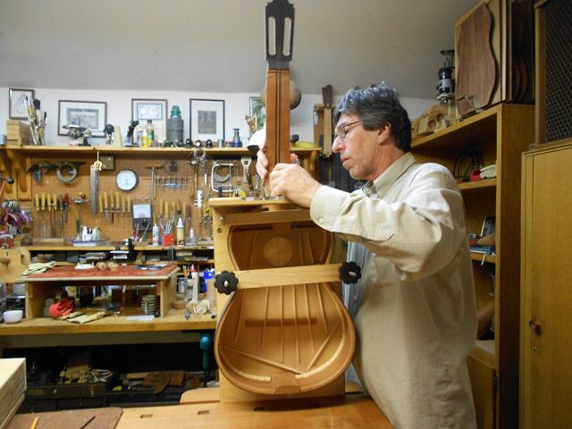 fitting the neck to the body, arnie gamble, guitar maker, making the neck, guitar repair, sacramento, California,  Kline music, authorized martin service center, C. F. Martin repair,