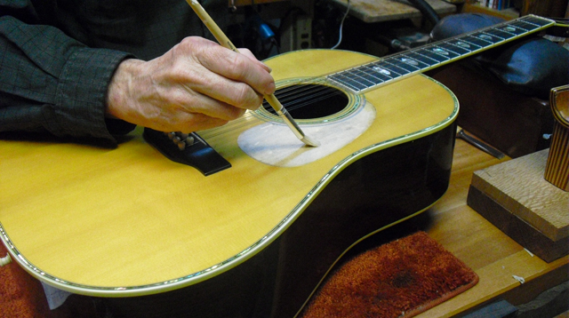 fixing the top under a martin 12 string pick guard replacement