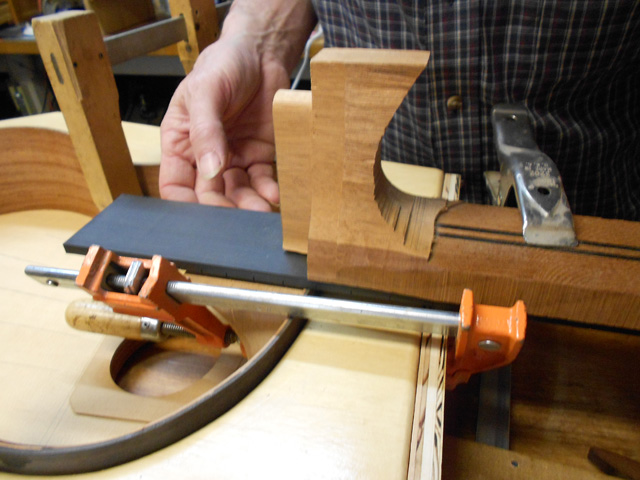 Fitting the finger board to the rosette.