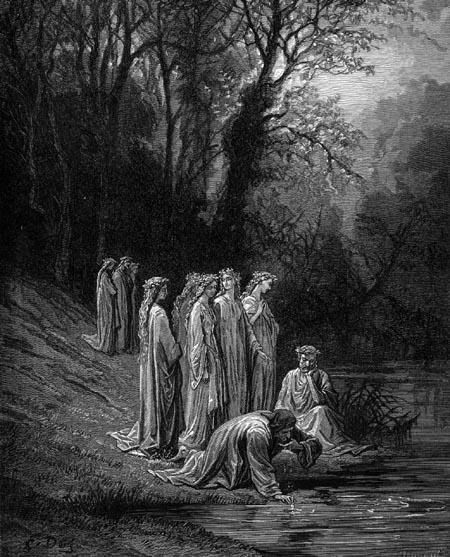 Dante e Estácio bebem das águas do rio Eunoé, em companhia das ninfas que servem a Beatriz, no Paraíso Terrestre. (Canto XXXIII). Ilustração de Gustave Doré