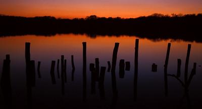 Sonnenuntergang am Fermasee bei Rheinstetten, Baden Deutschland