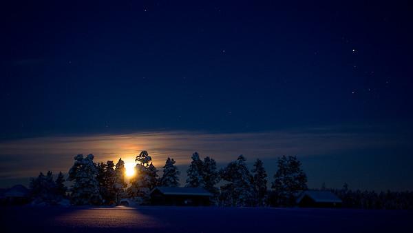 Mondaufgang in Renvallen - Arvidsjaur, Lappland, Schweden