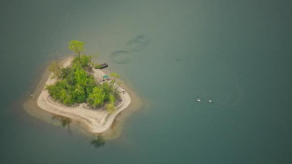 Insel im Fermasee, Rheinstetten. Luftaufnahme mit 2 Anglern, 2 Schwänen und einer Kanadagans.