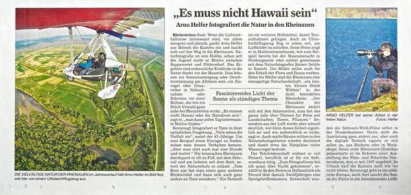Artikel über Arno Helfer in BNN vom 25.01.2015
