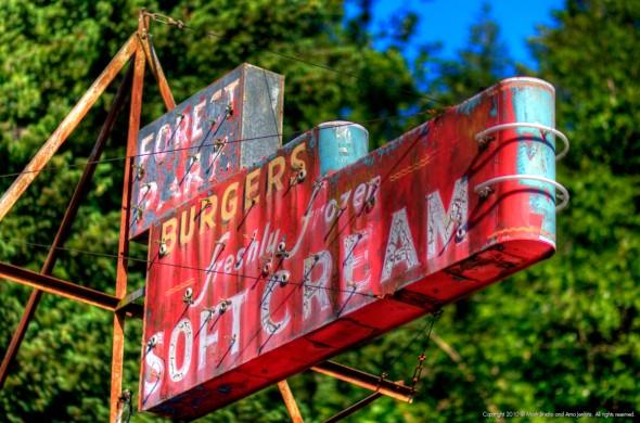 Old neon sign - Burgers, freshly frozen soft cream