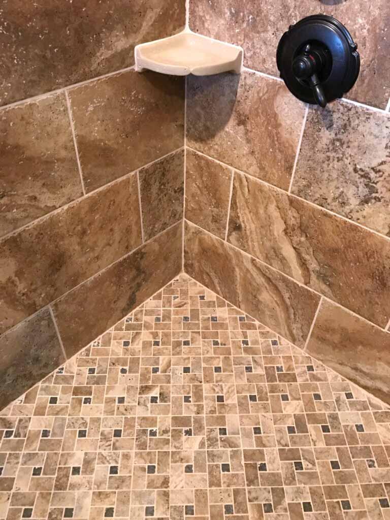 earth tone tile shower floor tile
